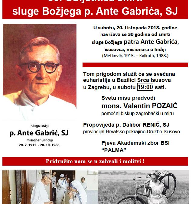 30. Obljetnica smrti sluge Božjega p. Ante Gabrića, SJ
